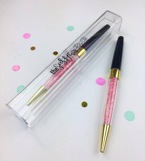 The Sassy Club Pens Gem Pen (Black w/ Pink Gems)