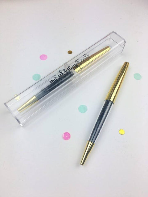 The Sassy Club Pens Gem Pen (Gold w/ Black Gems)