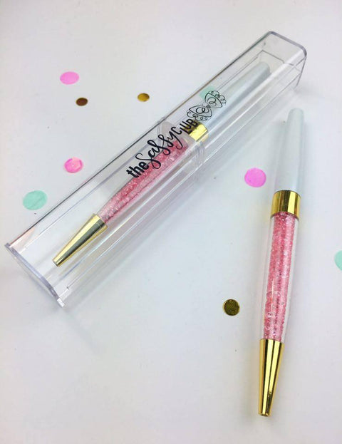 The Sassy Club Pens Gem Pen (White / Pink Gems)