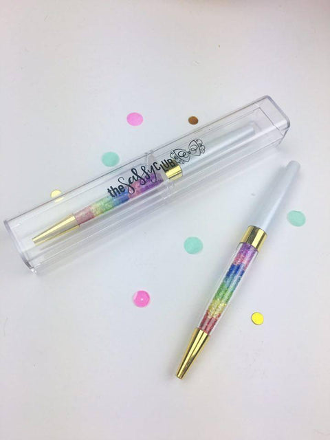 The Sassy Club Pens Gem Pen (White w/ Rainbow Gems)