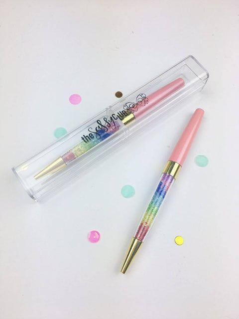 Gem Pens (Pink w/ Rainbow Gems) - Clear Stamps by The Sassy Club