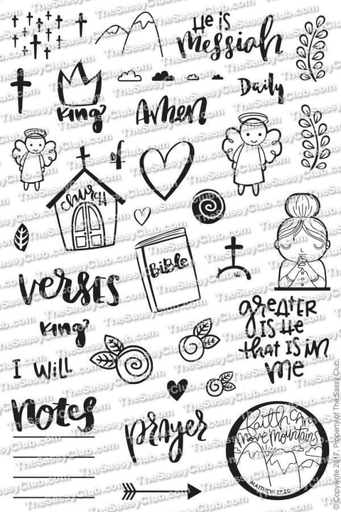 The Sassy Club Planner Stamps Bible Journaling - Clear Stamp Set for Planner (ships after 27th)