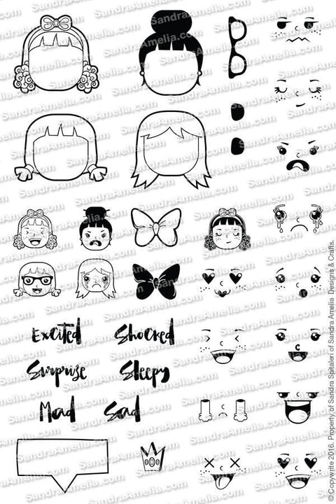 The Sassy Club Planner Stamps Emoji Girl - Clear Stamp Set