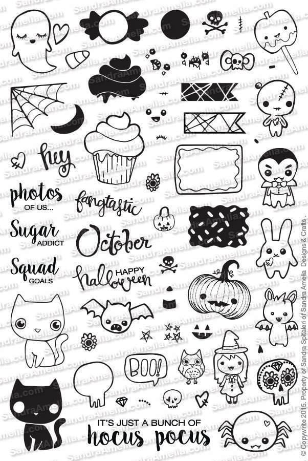 The Sassy Club Planner Stamps Halloween Icon Set Planner - Clear Stamp Set