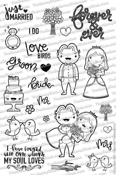 Just Married (Retiring) - Clear Stamps by The Sassy Club