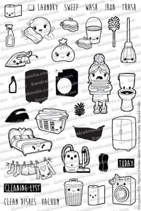 Kawaii Cleaning - Clear Stamps by The Sassy Club