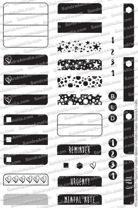 The Sassy Club Planner Stamps Label-It  Clear Stamp Set
