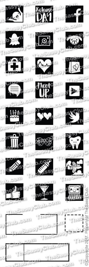 The Sassy Club Planner Stamps Planner Icons (2x6 Set)