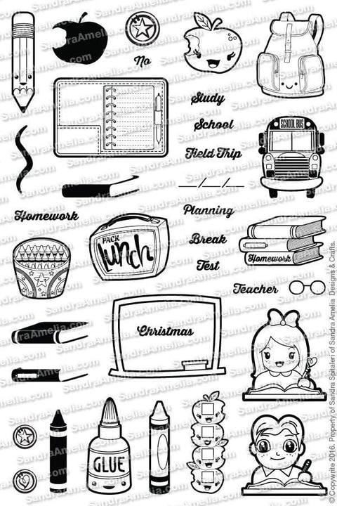The Sassy Club Planner Stamps School Days - Clear Stamp Set