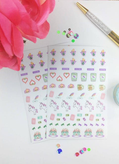 Unicorn - Planner Stickers (2 Sheets) - Clear Stamps by The Sassy Club