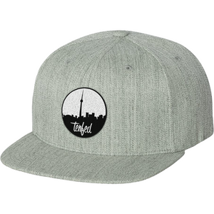 TF city scope snapback hat. grey
