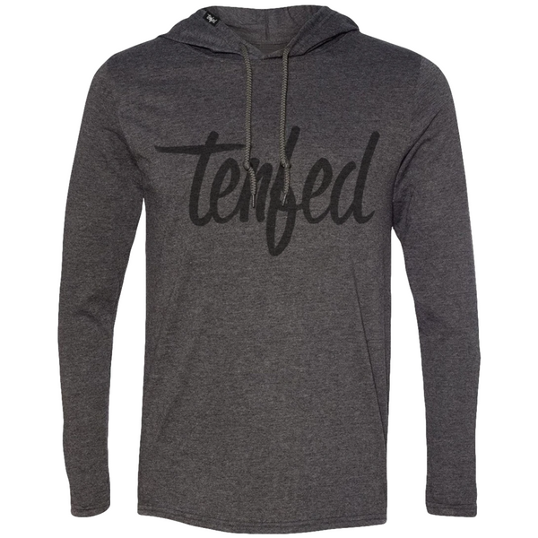 TF athletic hoodie. charcoal. unisex