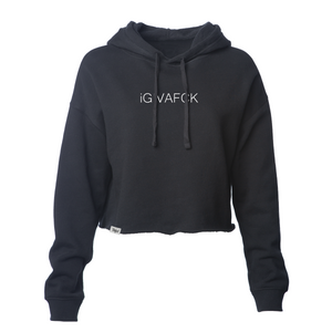 iGIVAFCK Crop Hoodie. Black. Ladies