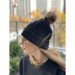 Tenfed Fluffy Pom Pom Toque. Black