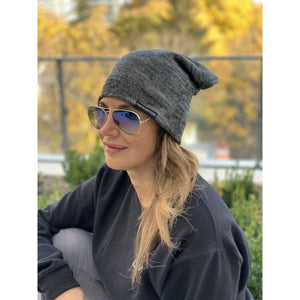 iGIVAFCK Slouchy Toque. Marl Charcoal