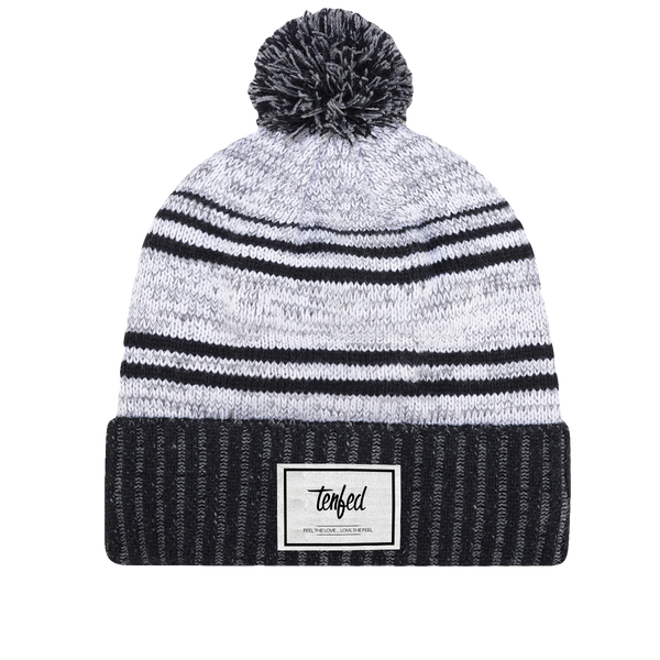 Tenfed fleece-lined pom pom. blk/wht