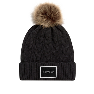 iGIVAFCK Fluffy Pom Pom Toque. Black