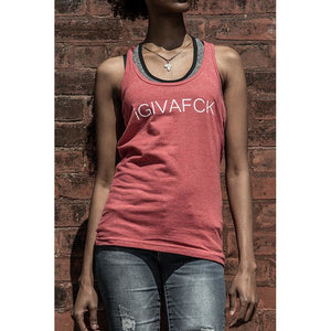 TF iGIVAFCK tank. heather red. ladies