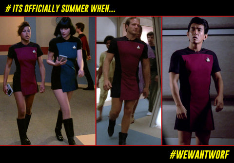 ITS OFFICIALLY SUMMER WHEN STAR TREK TNG CREW WEAR UNIFORM SKANTS
