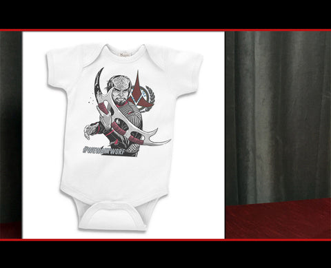 #WeWantWorf Baby Onesie: Little Warrior Edition