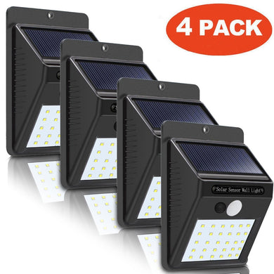 4Pcs 30 Led Solar Powered Wall Light Motion Sensor