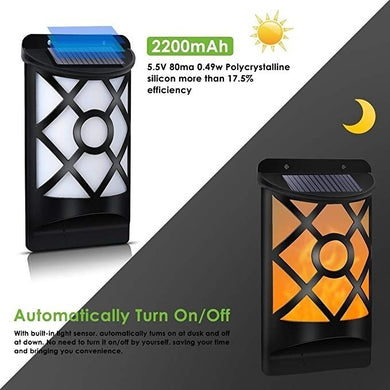 66 Led Solar Powered Flame Wall Light Waterproof  Lamp