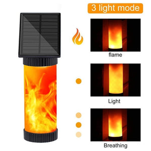 102 LED Flicker Flames Solar Wall Lights Outdoor