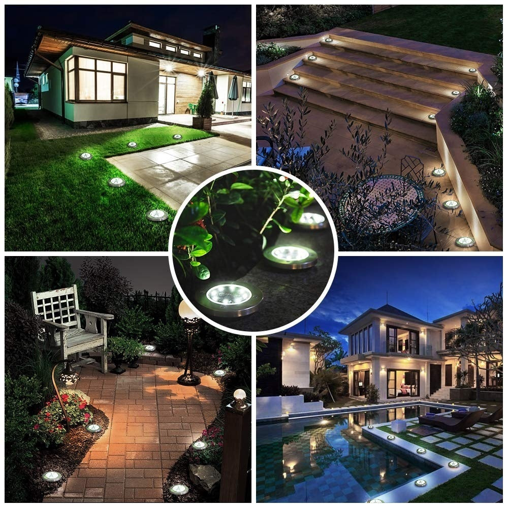 8 LED Solar Disk Lights Outdoor Solar Garden Lights(Pack of 4)
