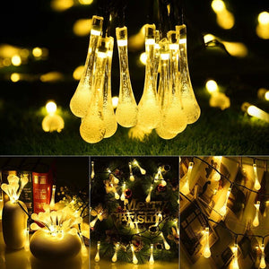 4.5M 30leds Water Drops Shaped Solar LED String Lights Waterproof