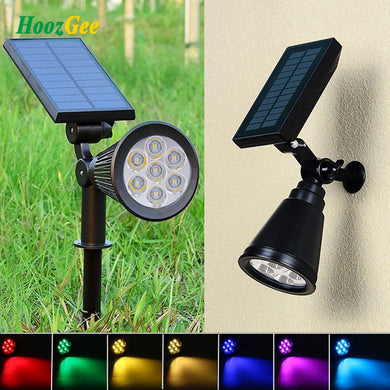 7 LED Solar Panel Spotlight Landscape Lawn Lamp