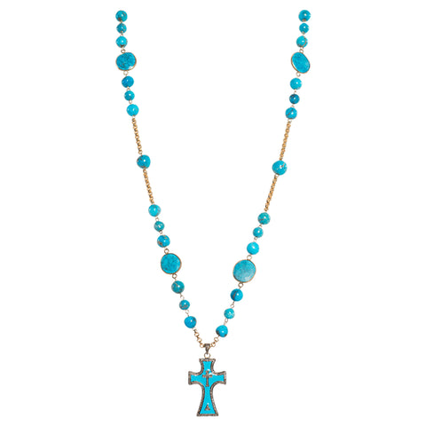 Pave Diamond Turquoise Cross