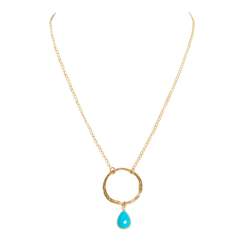 Tear Drop Turquoise Circle Pendant