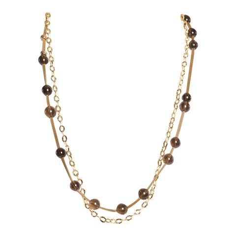 Smoky Quartz Leather and Gold Double Strand