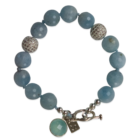 Aquamarine and CZ Single Wrap Bracelet