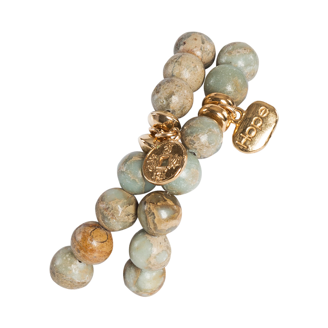 Jasper Stretchy Bracelet with Gold Medallion