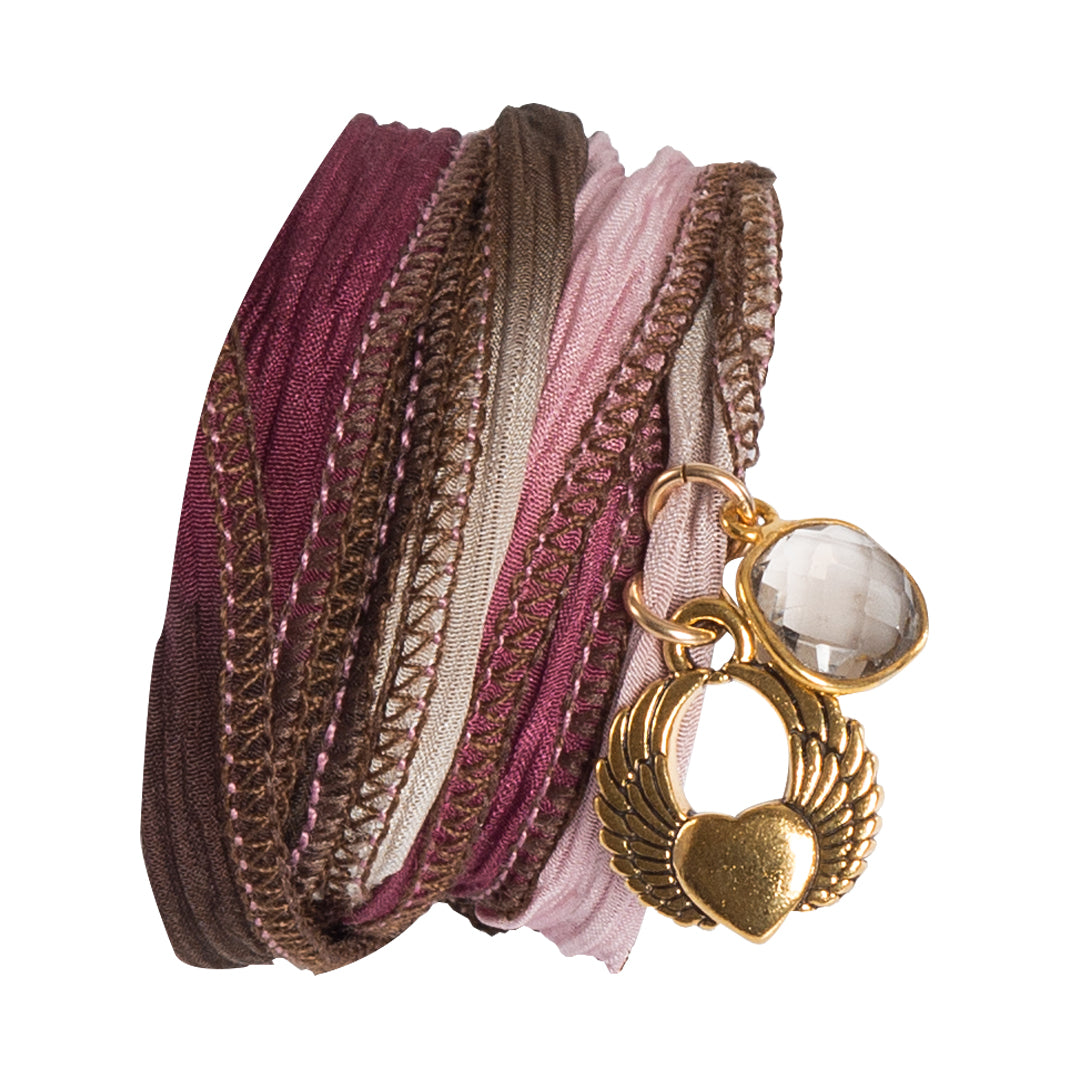 Multi Color Silk Wrap Bracelet With Charms & Gemstones