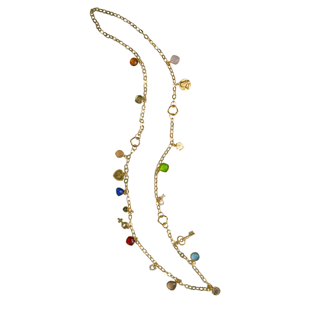 Gold Charm and Gemstone Strand Necklace