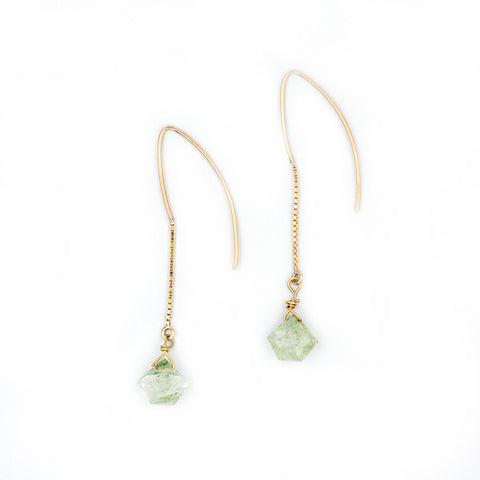 Green Rutilite Dangle Earring