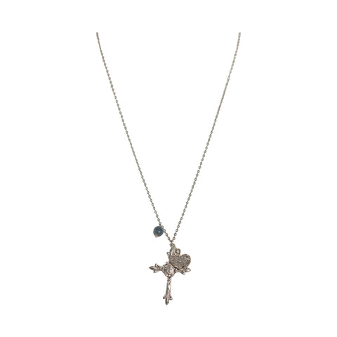Rough Sapphire Lovers Cross Pendent