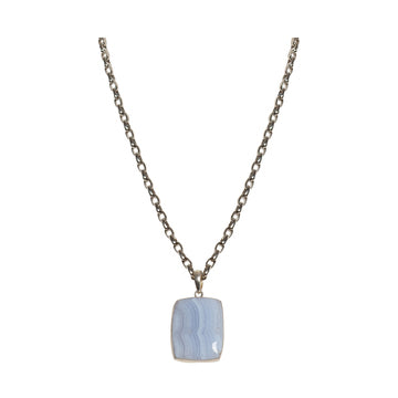 Pave Diamond Blue Lace Agate & Chain