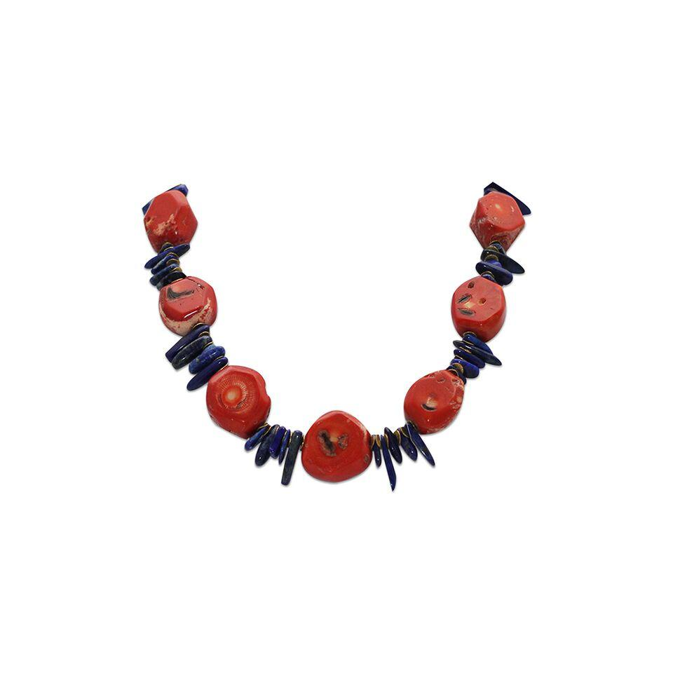 Red Coral Spiked Necklace