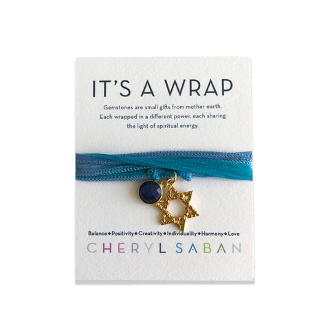 Gold Star Of David Lapis Silk Wrap Bracelet