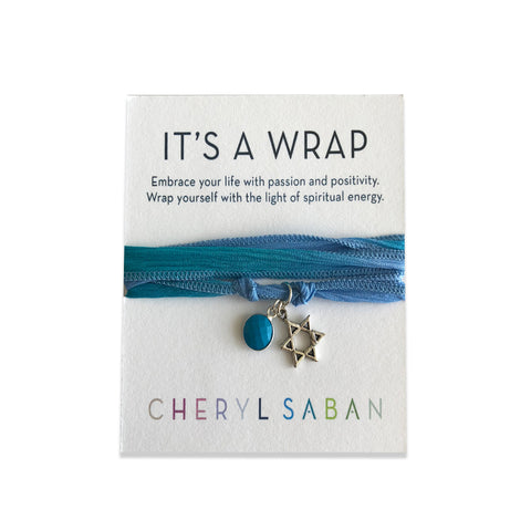 Silver Small Star Of David Turquoise Silk Wrap Bracelet