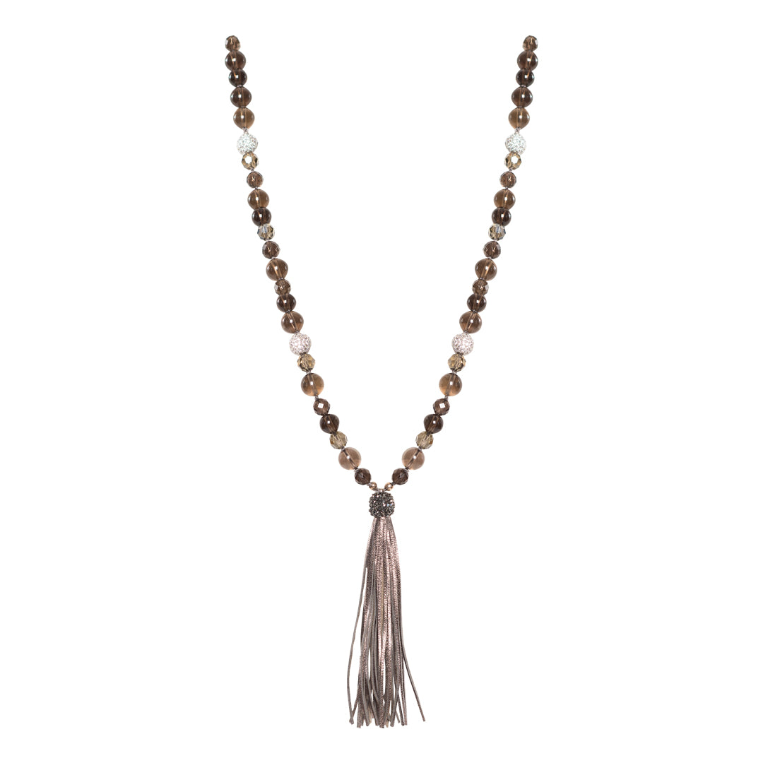 Leather Tassel Necklace with Pave Diamond Clasp