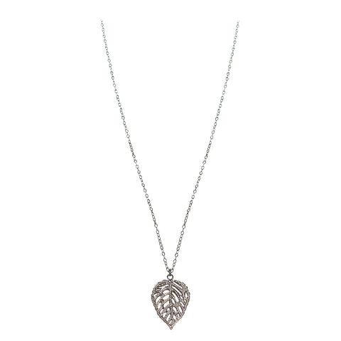 Pave Diamond Leaf Pendant
