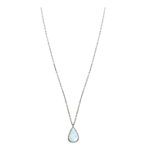 Pave Diamond Larimar Drop Pendant