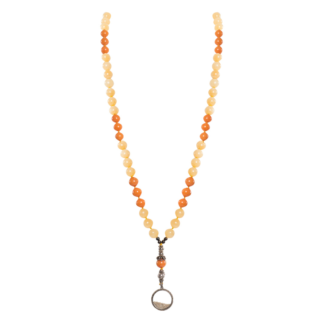 Yellow and Orange Calcite with Pave Diamonds Medallion