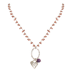 Rough Ruby and Bead Heart Necklace