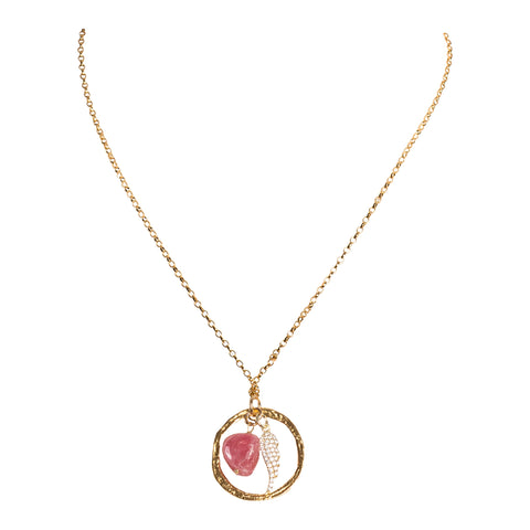 Rough Ruby Gold Circle Wing Necklace
