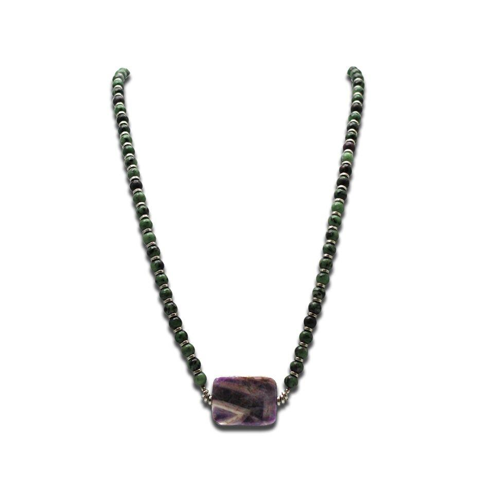 Green Jade and Amethyst Pendant Necklace